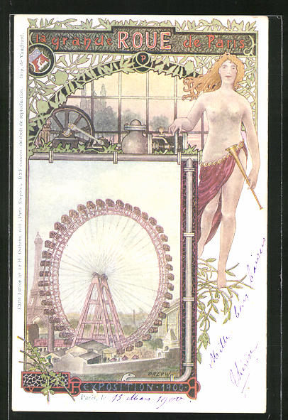 Künstler-AK sign. Orlow: Paris, Exposition 1900, La grande Roue de Paris / Riesenrad, Jugendstil 0