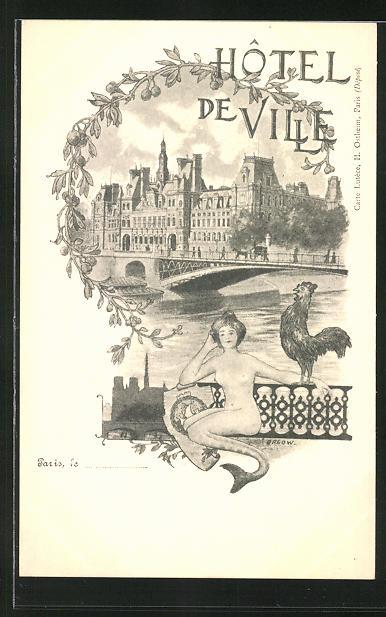 Künstler-AK sign. Orlow: Paris, Hotel de Ville / Rathaus, Jugendstil 0