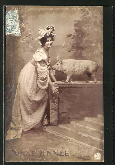 AK Neujahrsgruss, Junge Frau mit Schwein