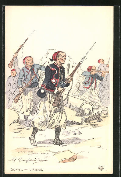 Künstler-AK Zouaves, L'Assault, Infanterie 0