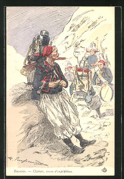 Künstler-AK Zouaves, Clairon, tenue d'expédition, Infanterie 0