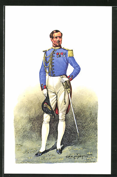 Künstler-AK Cent Gardes, Officier - Tenue de soirée 1860
