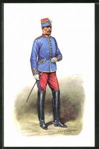 Künstler-AK Cent Gardes, En veste de manoeuvre 1860