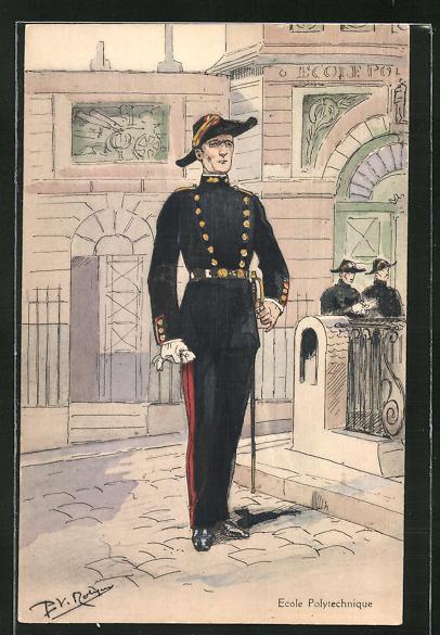 Künstler-AK Ecole Polytechnique, französischer Offizier in Uniform