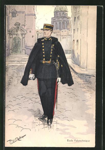 Künstler-AK Ecole Polytechnique, französischer Soldat in Uniform