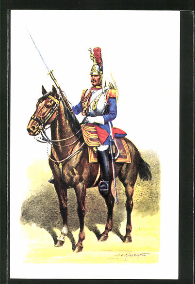 Künstler-AK Cent Gardes, Grande Tenue 1860, Kavallerist in Uniform