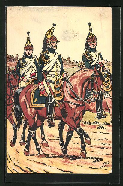 Künstler-AK Armée Francaise - 1er Empire, Dragon de la Garde Impériale 1809