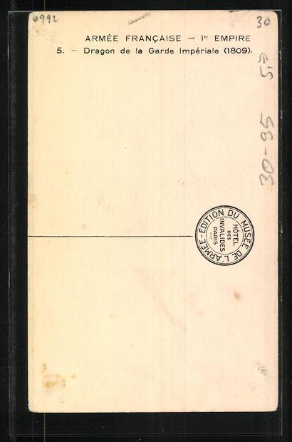 Künstler-AK Armée Francaise - 1er Empire, Dragon de la Garde Impériale 1809 1