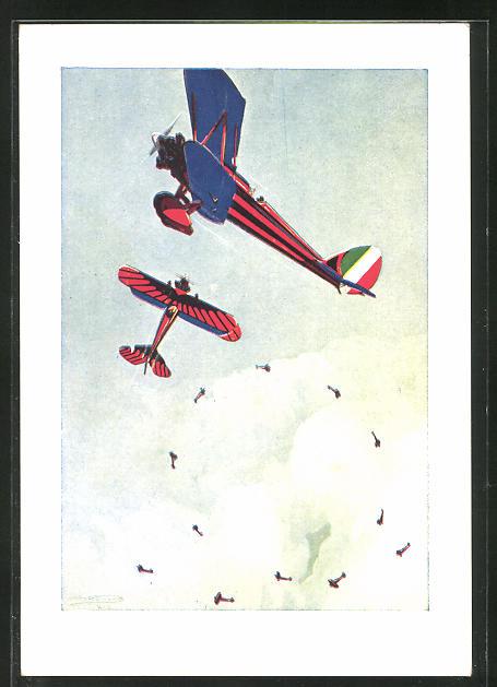 Künstler-AK sign. Ferrari: Arma Aeronautica, L'Aviazione e l'arma del Domani, Flugzeug beim Looping