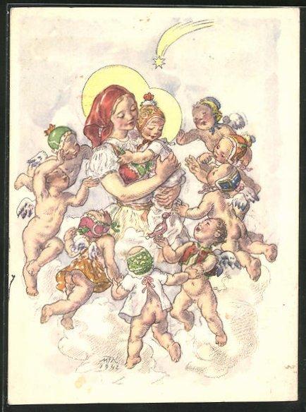 Künstler-AK M. Fischerova-Kvechova (MFK): Engelchen umtanzen Maria mit dem Kinde