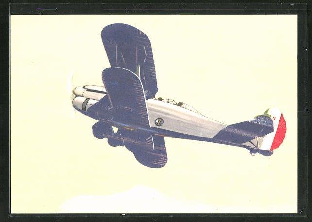 Künstler-AK sign. Ferrari: Arma Aeronautica, Italienisches Flugzeug im Steigflug