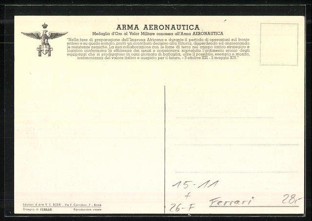 Künstler-AK sign. Ferrari: Arma Aeronautica, Italienisches Flugzeug im Steigflug 1
