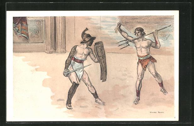 Künstler-AK sign. Richard Ranft: In der Arena, römische Gladiatoren beim Kampf