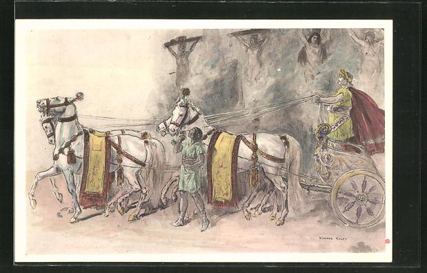 Künstler-AK sign. Richard Ranft: Römischer Prunkwagen zieht an einer Kreuzigung vorbei
