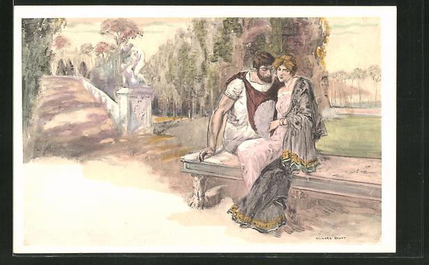 Künstler-AK sign. Richard Ranft: Römisches Paar auf einer Parkbank