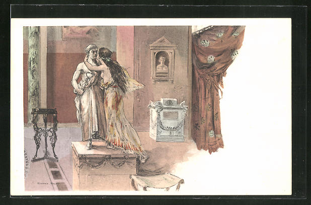 Künstler-AK sign. Richard Ranft: Junge Römerin küsst eine Statue