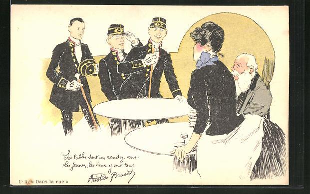 Künstler-AK sign. Steinlen: Französische Soldaten kehren ins Gasthaus ein 0