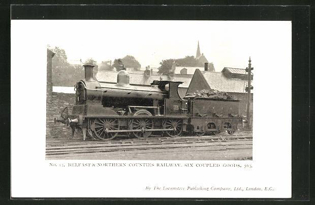 AK Englische Eisenbahn-Lokomotive mit Tender, Belfast & Northern Counties Railway