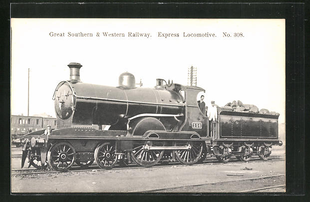 AK Great Southern & Western Railway Express Locomotive No. 308, englische Eisenbahn