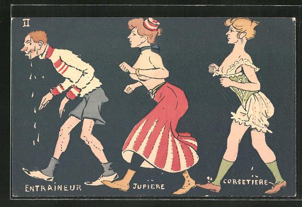 Künstler-AK sign. Fermel: Sportler wird von leicht bekleideten Damen verfolgt