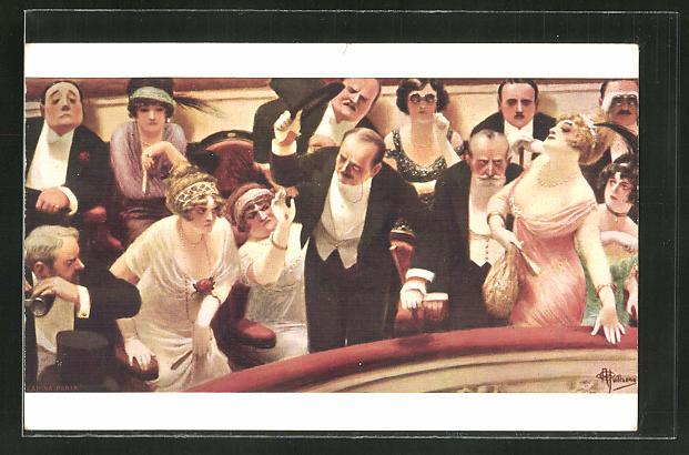 Künstler-AK Albert Guillaume: Nachzügler im Theater verärgern die anderen Gäste 0