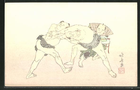 Künstler-AK Japaner beim Ringkampf 0