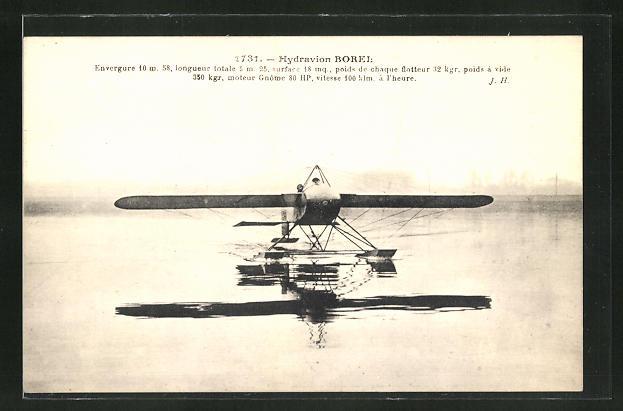 AK Wasserflugzeug Hydravion Borel 0