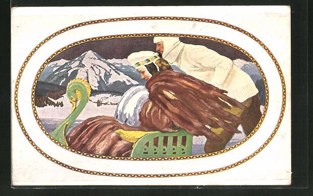 Künstler-AK Manuel Wielandt: Paar mit Schlitten im Winterdress