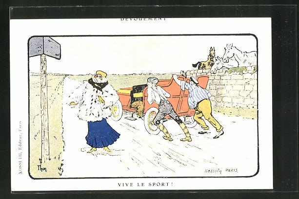Künstler-AK sign. Kossath: Vive le Sport!, Männer schieben ein Automobil an