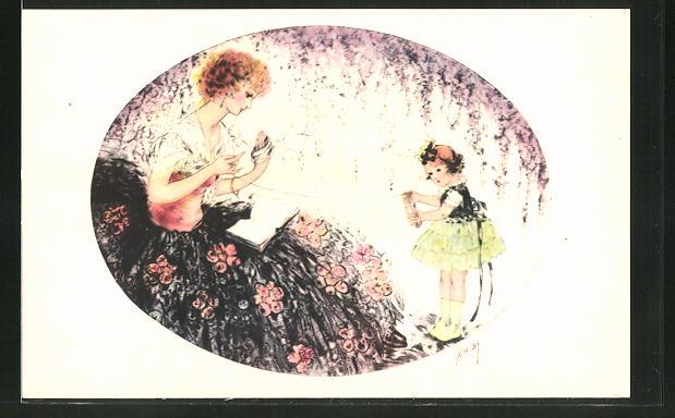 Künstler-AK sign. Kaby: Frau und Mädchen wickeln ein Band auf