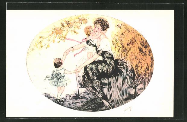Künstler-AK sign. Kaby: hübsche Frau mit zwei Mädchen auf einer Bank 0