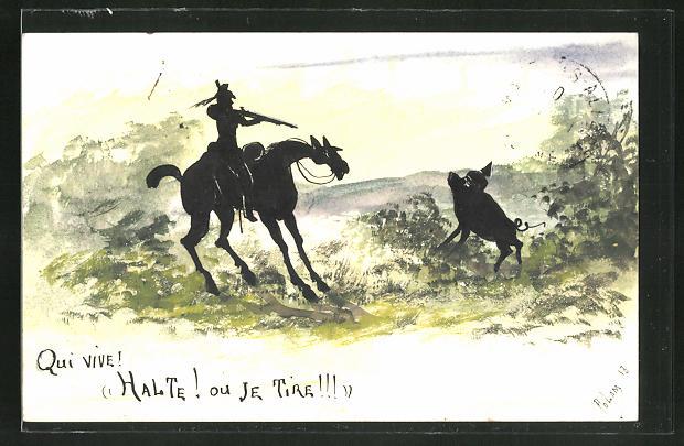 Künstler-AK sign. Polam: Qui vive!, Halte! ou Je Tire!!!, Jäger schiesst auf ein Schwein