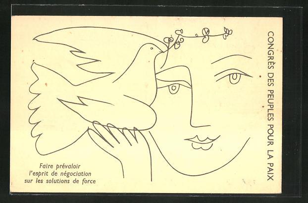 Künstler-AK sign. Picasso: Friedensbewegung, Congres des Peuples pour la Paix, Faire prevaloir l'esprit, Frau mit Taube 0