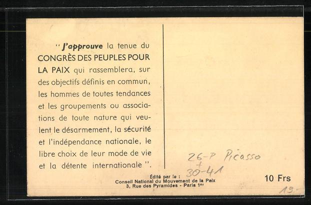 Künstler-AK sign. Picasso: Friedensbewegung, Congres des Peuples pour la Paix, Faire prevaloir l'esprit, Frau mit Taube 1