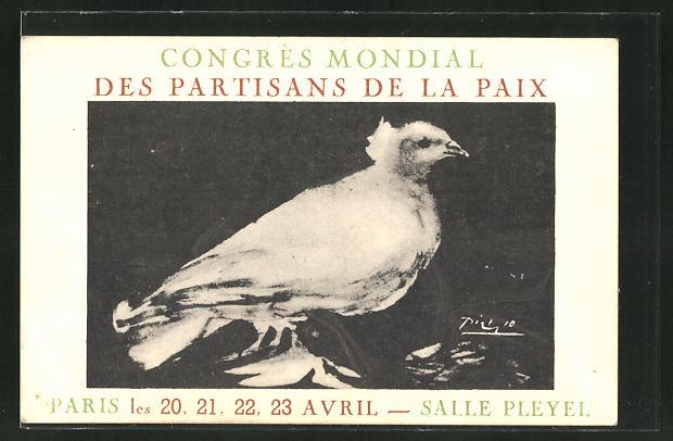 Künstler-AK sign. Picasso: Paris, Congress Mondial des Partisans de la Prix, weisse Friedenstaube