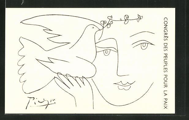 Künstler-AK sign. Picasso: Friedensbewegung, Cpngress des Peuples pour la Paix, Frauengesicht mit Friedenstaube