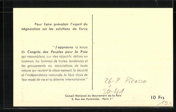 Künstler-AK sign. Picasso: Friedensbewegung, Cpngress des Peuples pour la Paix, Frauengesicht mit Friedenstaube 1