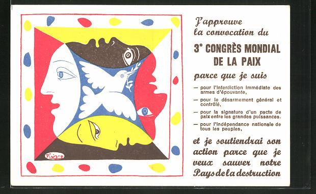 Künstler-AK sign. Picasso: 3. Congres Mondial de la Paix, Taube und Gesichter