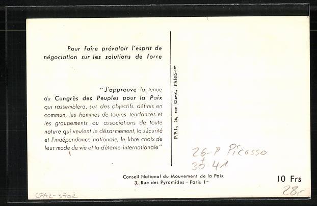 Künstler-AK sign. Picasso: Vienne, Congres des Peuples pour la Paix 1952, Taube und Gesichter 1