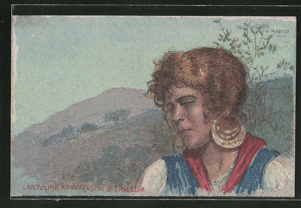 Künstler-AK sign. B. Cascella: Contache di Rapino, hübsche Frau im Gebirge