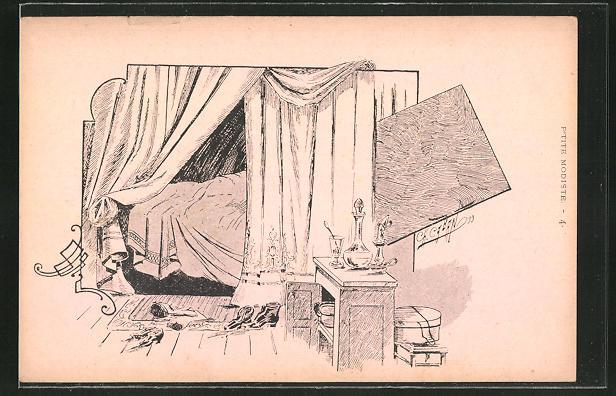 Künstler-AK sign. Caban: Paris, Blick in ein Schlafzimmer