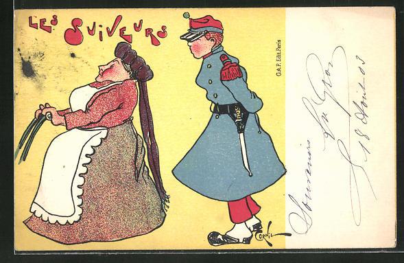 Künstler-AK sign. Cornil: Les Suiveurs, Soldat beobachtet eine ältere Dame