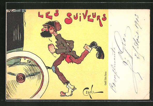 Künstler-AK sign. Cornil: Les Suiveurs, Mann rennt einem Auto hinterher
