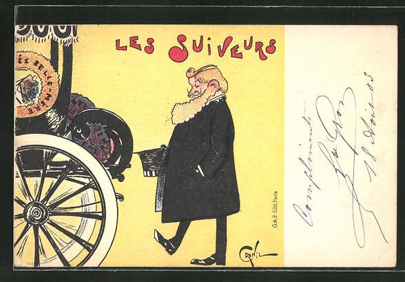 Künstler-AK sign. Cornil: Les Suiveurs, Mann mit Zylinder am Automobil