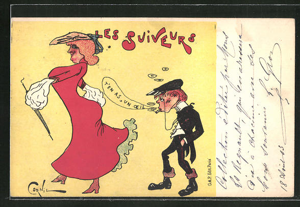 Künstler-AK sign. Cornil: Les Suiveurs, Mann pfeift einer eleganten Frau hinterher
