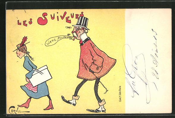 Künstler-AK sign. Cornil: Les Suiveurs, älterer Herr pfeift hübscher Frau hinterher