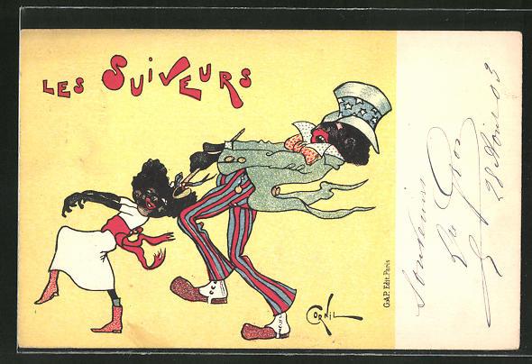 Künstler-AK sign. Cornil: Les Suiveurs, Mann zieht einem Mädchen am Haarband