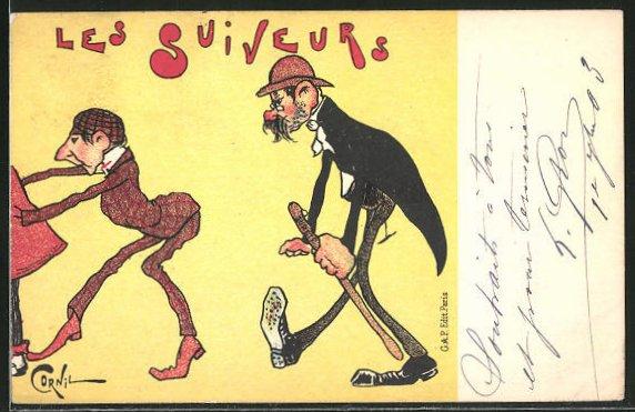 Künstler-AK sign. Cornil: Les Suiveurs, älterer Herr trottet einem jungen Mann hinterher