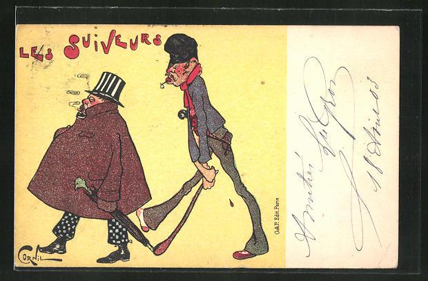 Künstler-AK sign. Cornil: Les Suiveurs, Mann mit Stock läuft hinter einem eleganten Herren