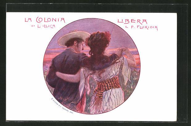 Künstler-AK sign. A. Beltrame: La Colonia, romatisches Paar blickt auf den Ort 0